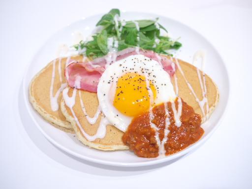 宮崎和牛のチリソースのせパンケーキ(201305@九州パンケーキカフェ)