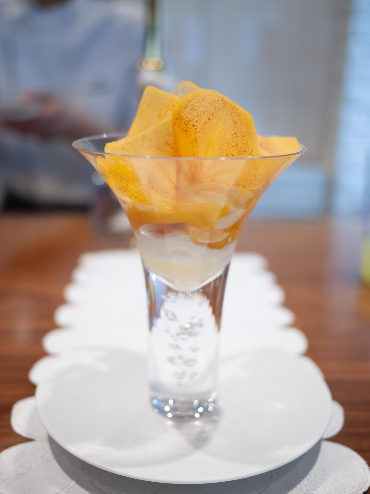 柿と百合根のパフェ:柿、百合根、文旦